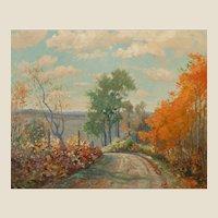 "F. J. GIRARDIN (American 1856 - 1946) - Original Oil on Canvas ""Autumn Landscape"""