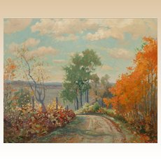 "F. J. GIRARDIN (American 1856 - 1946) - Original Oil on Canvas ""Autumn Landscape"""