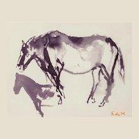ELAINE DE KOONING (American, 1919 - 1989) - Original Signed Watercolor On Paper