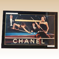 "CHANEL  ""Women Playing Pool"" - Advertising Sign - Actual Ad In The New York Times, March, 1990"