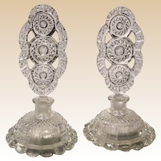 PAIR of Pressed Lead Glass Perfume Bottles