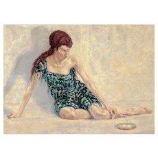 "MARCEL VICTOR (Swiss, 1891 - 1971)  Very Large Original Oil On Canvas ""Le Petit Dejeuner"""