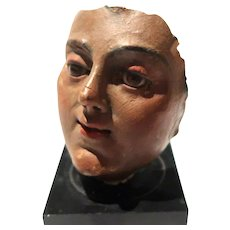 19th Century Hand-Painted Partial Face With Glass Eyes