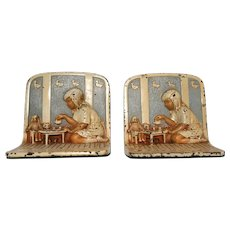 "Cast Iron Bookends - ""Tea Party"" - Little Girl Playing With Doll, Bear --  By Judd Co. - Circa 1920s - 1930s"