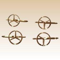 14K Gold Mercedes Benz Tuxedo Stud Set 4 pieces