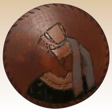 Folk Art Dresser Box or Snuff Box, Etched And Colored Wood, With Woman In A Bonnet