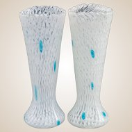 PAIR of  Fratelli Toso Art Glass Vases, With White Caning and Turquoise Murrine, Murano, Italy,