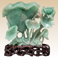 Carved JADE Lotus Group On Wooden Stand, Chinese, circa 1910