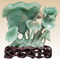 Carved JADE Lotus Group On Wooden Stand, Chinese, circa Early 1900s