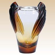 "LALIQUE (France) -  ""Marrakech"" Vase, Clear to Frosted Dark AMBER!   Created by Marie-Claude Lalique in 1978, Signed"