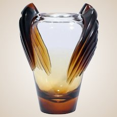 """LALIQUE (France) -  """"Marrakech"""" Vase, Clear to Frosted Dark AMBER!   Created by Marie-Claude Lalique in 1978, Signed"""