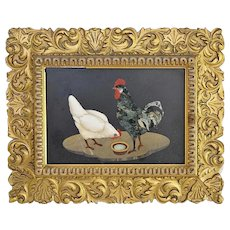 Pietra Dura - Fine Italian Depiction of Pair of Chickens (Rooster and Hen)