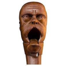 Antique Bavarian Carved Wood Figural Nutcracker, Circa 1900