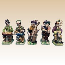 Band With Five Musicians, Vintage Italian Porcelain