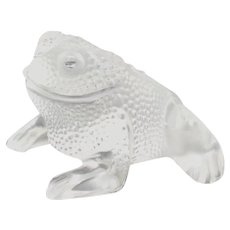 "LALIQUE (France) ""Gregoire"" Crystal Frog Paperweight Sculpture; Signed."