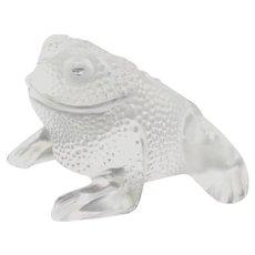 "LALIQUE (France) ""Gregoire"" Crystal Frog Paperweight Sculpture; Signed."