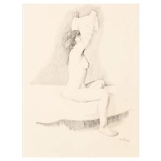 "ANCEL E. NUNN  (American 1928-1999) - Original Drawing - ""Nude""-  Signed and Dated 1986."