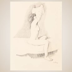 """ANCEL E. NUNN  (American 1928-1999) - Original Drawing - """"Nude""""-  Signed and Dated 1986."""