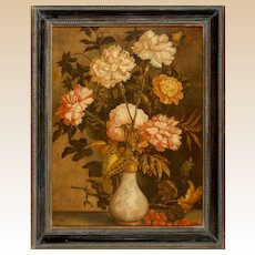 "GEOFF ROCKWELL (American,  20th Century) - Original Oil On Canvas, Signed, Dated, ""Vase Of Flowers"""