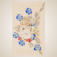 """ANNIE FRENCH (Scottish 1872 - 1965) - Original Signed Watercolor """"Flowers"""""""