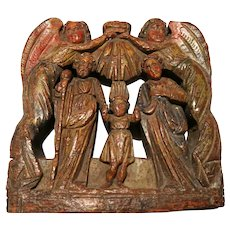 18th Century Italian Ecclesiastical Architectural Element, Parcel Gilt And Polychrome. Angels Above Holy Family