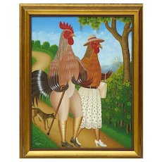 "FRITZNER LAMOUR (Haitian, b. 1948) - Original Signed Oil On Canvas ""Chicken Couple Walking Their Dog"""