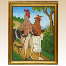 """FRITZNER LAMOUR (Haitian, b. 1948) - Original Signed Oil On Canvas """"Chicken Couple Walking Their Dog"""""""