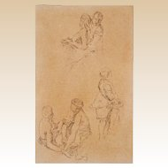 Original Old Master Drawing - 18/19th Century -  Three Loving Scenes of Three Pairs of Figures