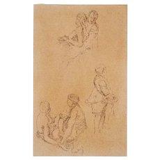 Original Old Master Drawing - 18/19th Century -  Three Loving Scenes of Three Pairs of Figures