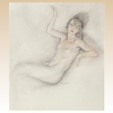 "EDOUARD CHIMOT (French, 1880 - 1959) Original Signed  ""Portrait of a Nude Woman"" - Mixed Media - Art Deco"