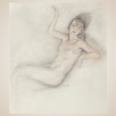"""EDOUARD CHIMOT (French, 1880 - 1959) Original Signed  """"Portrait of a Nude Woman"""" - Mixed Media - Art Deco"""