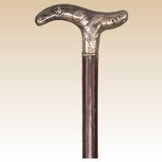 19th Century Lady's Walking Stick With Silver Handle and Mahogany Shaft.