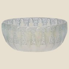 """R. LALIQUE (France) - Frosted Blue/Green Opalescent """"Perruches"""" Bowl, Signed- VERY RARE"""