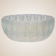 "R. LALIQUE (France) - Frosted Blue/Green Opalescent ""Perruches"" Bowl, Signed- VERY RARE"