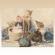 "LOUIS EUGENE LAMBERT (French, 1825 - 1900) -Original Signed watercolor ""Four Kittens With Yarn"""