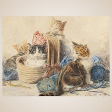"LOUIS EUGENE LAMBERT (French, 1825 - 1900) -Antique Original Signed Watercolor ""Playtime"""