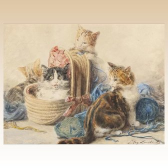 """LOUIS EUGENE LAMBERT (French, 1825 - 1900) -Original Signed watercolor """"Four Kittens With Yarn"""""""
