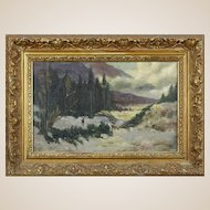 """AMERICAN SCHOOL Signed Original Oil On Canvas, """"Mountain Snow Scene With Deer""""  Dated 1907"""