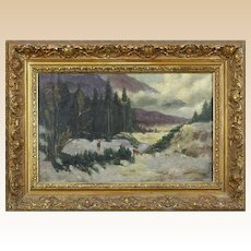 "AMERICAN SCHOOL Signed Original Oil On Canvas, ""Mountain Snow Scene With Deer""  Dated 1907"