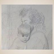 "RAPHAEL SOYER (Russian/American 1899-1987) - ""Mother And Child"" Original Signed Drawing."