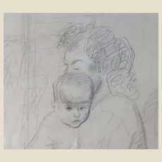 """RAPHAEL SOYER (Russian/American 1899-1987) - """"Mother And Child"""" Original Signed Drawing."""