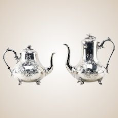 Antique Silverplate English Tea And Coffee Pot, Signed, Sturges