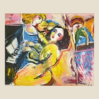 "ZAMY STEYNOVITZ (Israeli, Polish 1951-2000) -""Music"" - Original Signed Oil On Canvas"