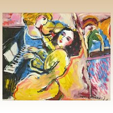 "ZAMY STEYNOVITZ (Israeli, Polish 1951-2000) -""Music"" - Original Signed Oil On Canvas"
