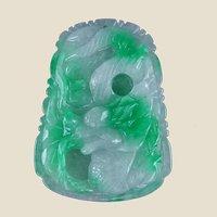 Antique Chinese Apple Green Jade Dragon Pendant, Exquisitie!