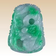Antique Chinese Apple Green Jade Dragon Pendant, Exquisitie!