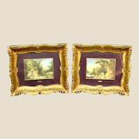 PAIR Italian Hand-Painted Miniature Paintings, Mid Century, Depicting Wonderful Boucher Masterpieces