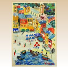 "Pito (Italian, 20th Century)  - ""Portofino"" Original Signed Watercolor (Gouache) On Paper"