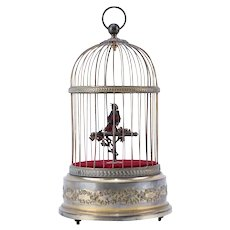 Antique French Singing Bird In Cage, Gilt Brass, Stamped And Numbered, Beautiful Sound