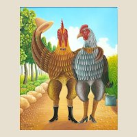 "FRITZNER LAMOUR (Haitian born 1948) Original Signed Oil On Canvas ""Bird Couple On A Stroll"""